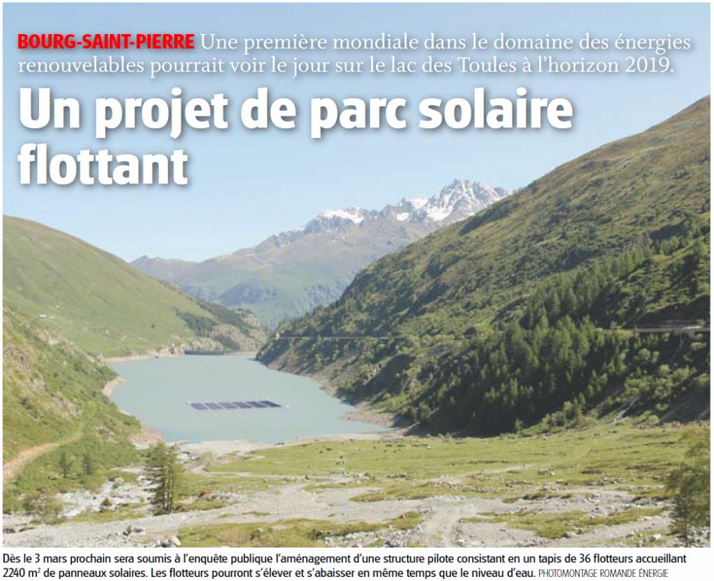 Un projet de parc solaire flottant